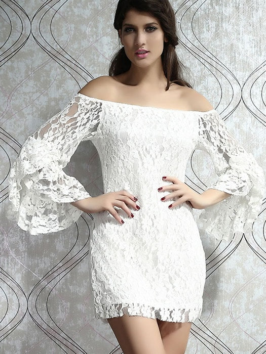 Cream Lace Off-The-Shoulder Mini Dress