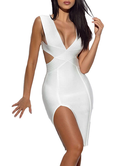 Cut Out Detail Solid White Bandage Dress