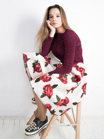 Romantic Print Stars Split-to-thigh Skirt