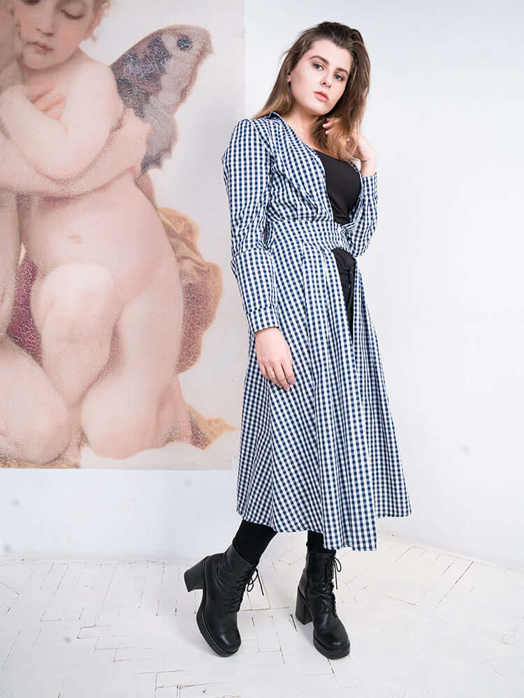 Open V Plaid Trench Coat Dress