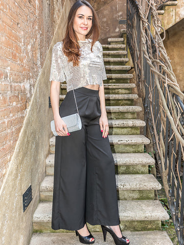 Front Split Pants in Black