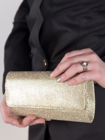Glitter Faux Diamond Button Clutch Bag