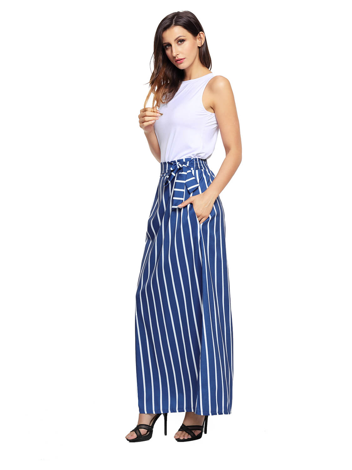 Dark Blue Striped Maxi Skirt