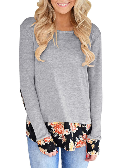 Dark Floral Patchwork Grey Long Sleeve Shirt