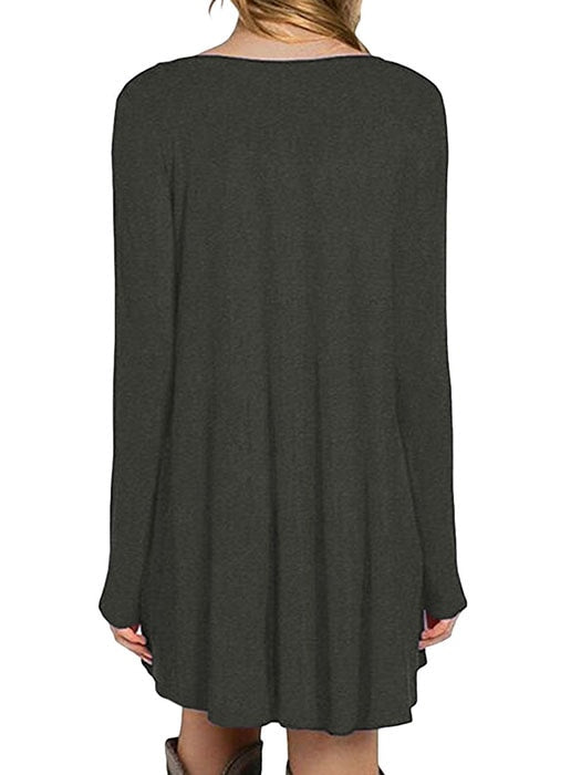 Dark Grey Long Sleeve Pocket Casual Loose T-shirt Dress