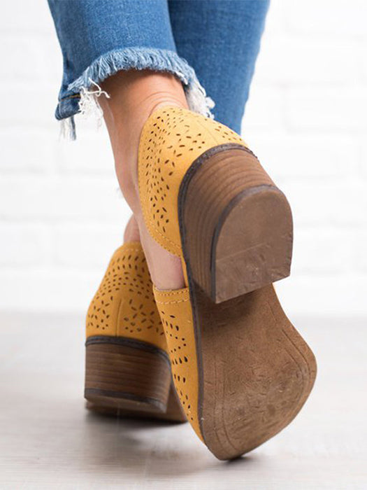 Hollow-out Low Heel Cutout Booties Zipper Ankle Boots