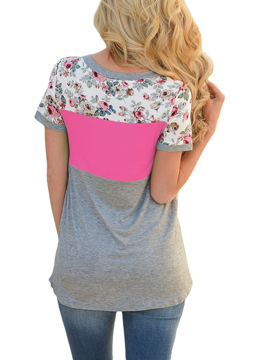 Floral Print Rosy Gray Colorblock T-shirt