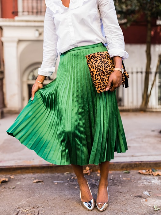 Gorgeous Emerald Satin Draping Pleated Skirt
