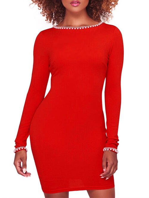 975bbaee4a Gold Details Pearl Embellished Red Bodycon Dress
