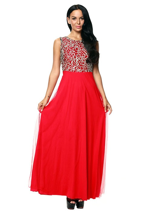 Gold Embroidery Detail Red Tulle Overlay Evening Dress – WhatsMode