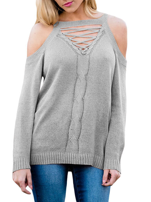 05c4706c7f510 Gray Cold Shoulder Lace up Detail Knit Sweater Top – WhatsMode