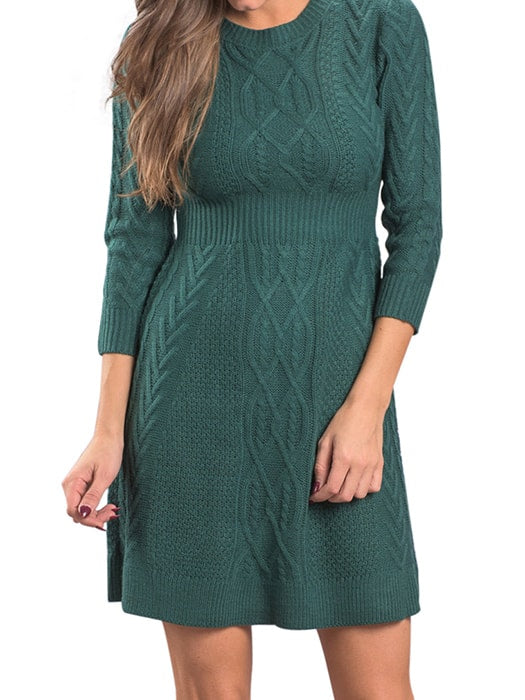 14bc8646eb6 Green Cable Knit Fitted 3 4 Sleeve Sweater Dress – WhatsMode