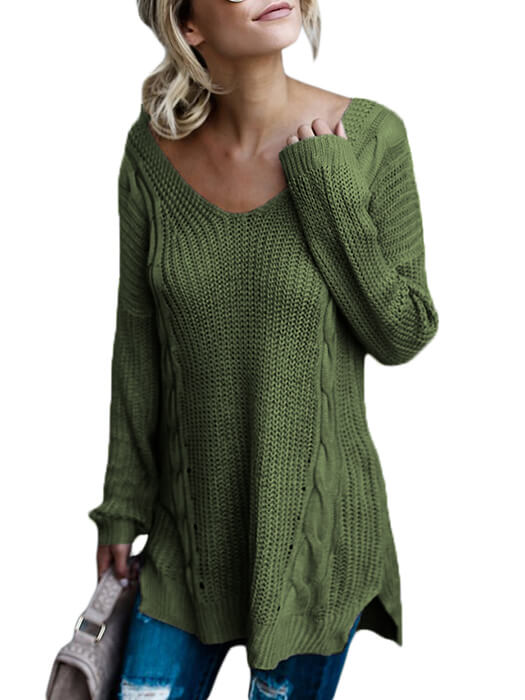Green Modern Lady Cable Knit Sweater Whatsmode
