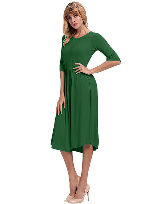 5bf3e17b00f305 Green Ruffle Sleeve Midi Jersey Dress – WhatsMode