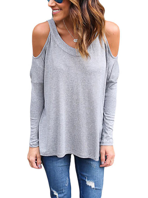 523d79cab01336 Grey Long Sleeve Relaxed Fit Cold Shoulder Top