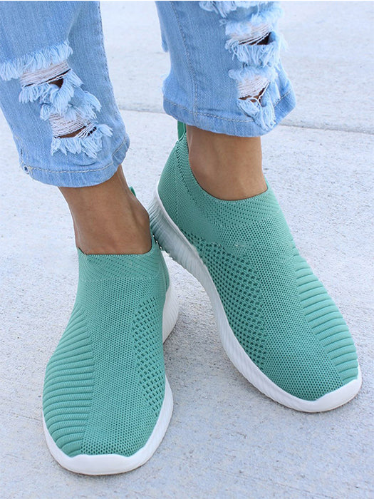Breathable Fly-knit Fabric Athletic Sneakers Slip-on Shoes