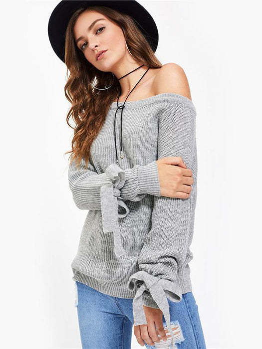 Drop Shoulder Lacing-sleeved Casual Sweater