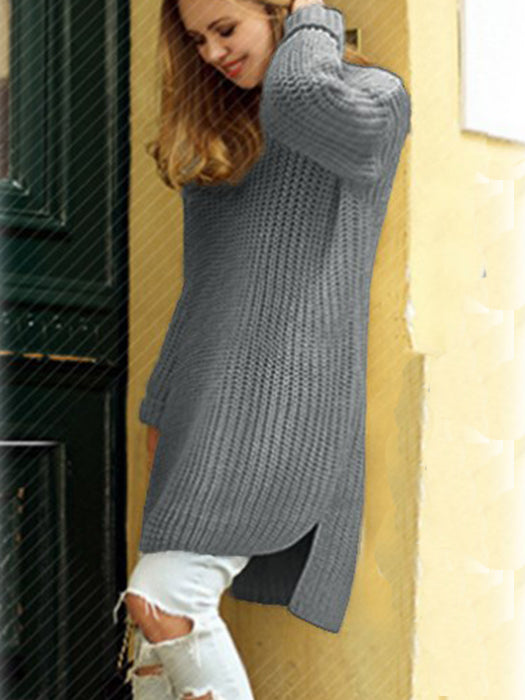 Fashion Solid Color Long Knitted Sweater