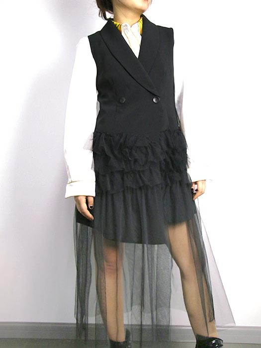 Notched Lapel Non-sleeve Pleat Spliced Peplum Coat