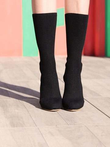 Mesh Knit Sock Heeled Boots