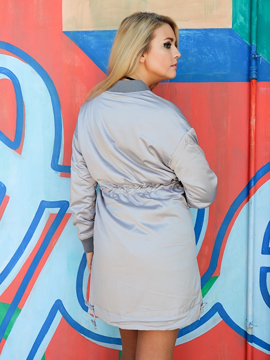 Satin Waisted Bomber Jacket Thick Coat