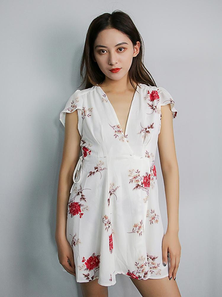 Floral Print Plunging V-neck Mini Dress