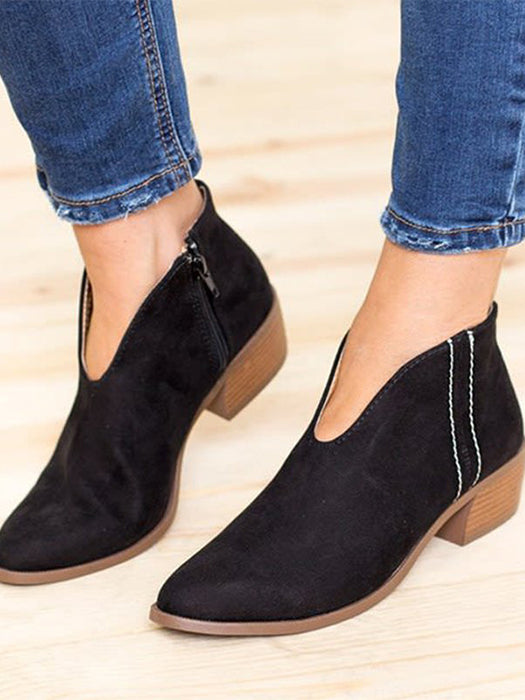 Deep V Sexy Booties Casual Comfort Zipper Shoes