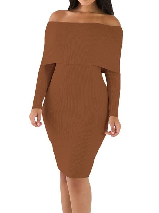 9ac1177f59cf Khaki Mini Knit Jersey Off Shoulder Dress – WhatsMode