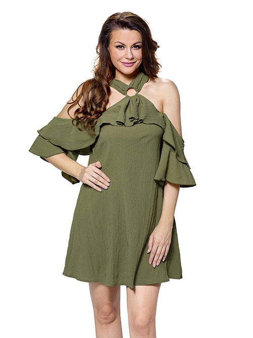 dfc91e2c187c80 Olive Adorable Sexy O Ring Detail Ruffle Dress