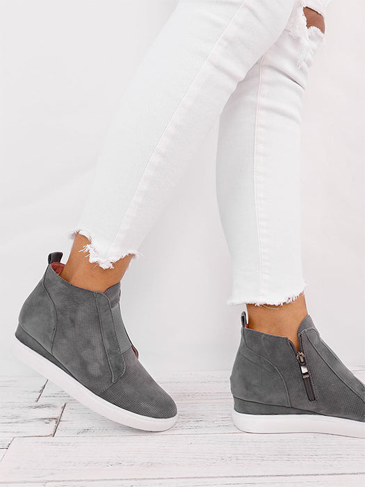 Platform Wedges Strap High Top Zipper Sneakers