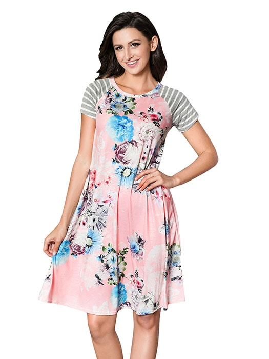 f0c467ed14 Pink Backdrop Floral Print A-line Loose T-shirt Dress – WhatsMode