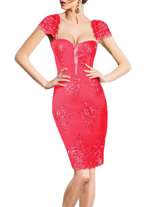 Pink Embroidered Cap Sleeves Bodycon Party Dress – WhatsMode b0c89b58e