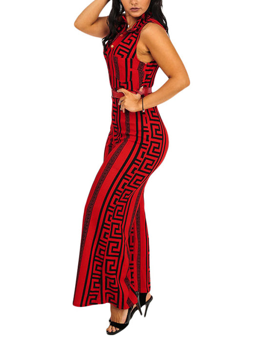 05492c953055 Plus Size Red Print Gold Belted Jumpsuit – WhatsMode
