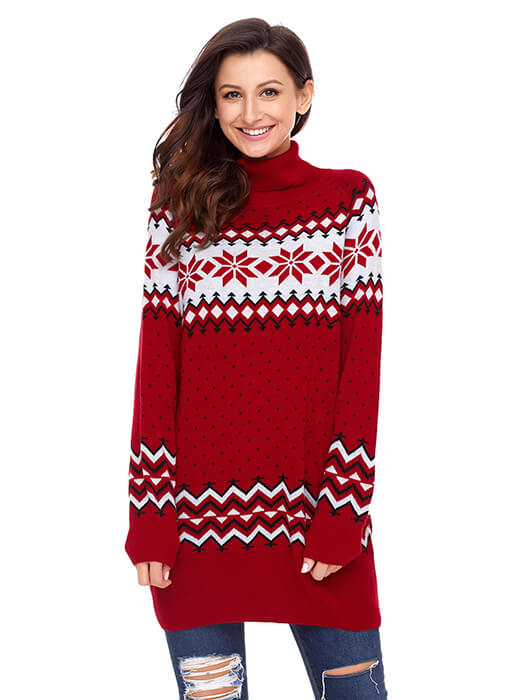Red Christmas Snowflake Knit Turtleneck Jumper Whatsmode