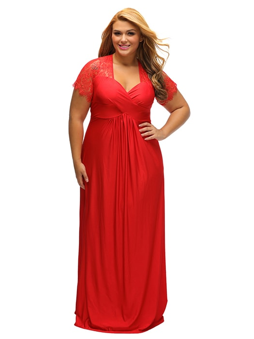 Red Lace Yoke Ruched Twist High Waist Plus Size Gown – WhatsMode