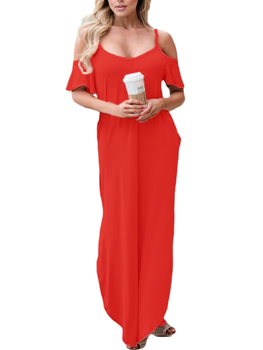 f09647a6bea3d0 Red Sassy Open Shoulder Maxi Dress – WhatsMode
