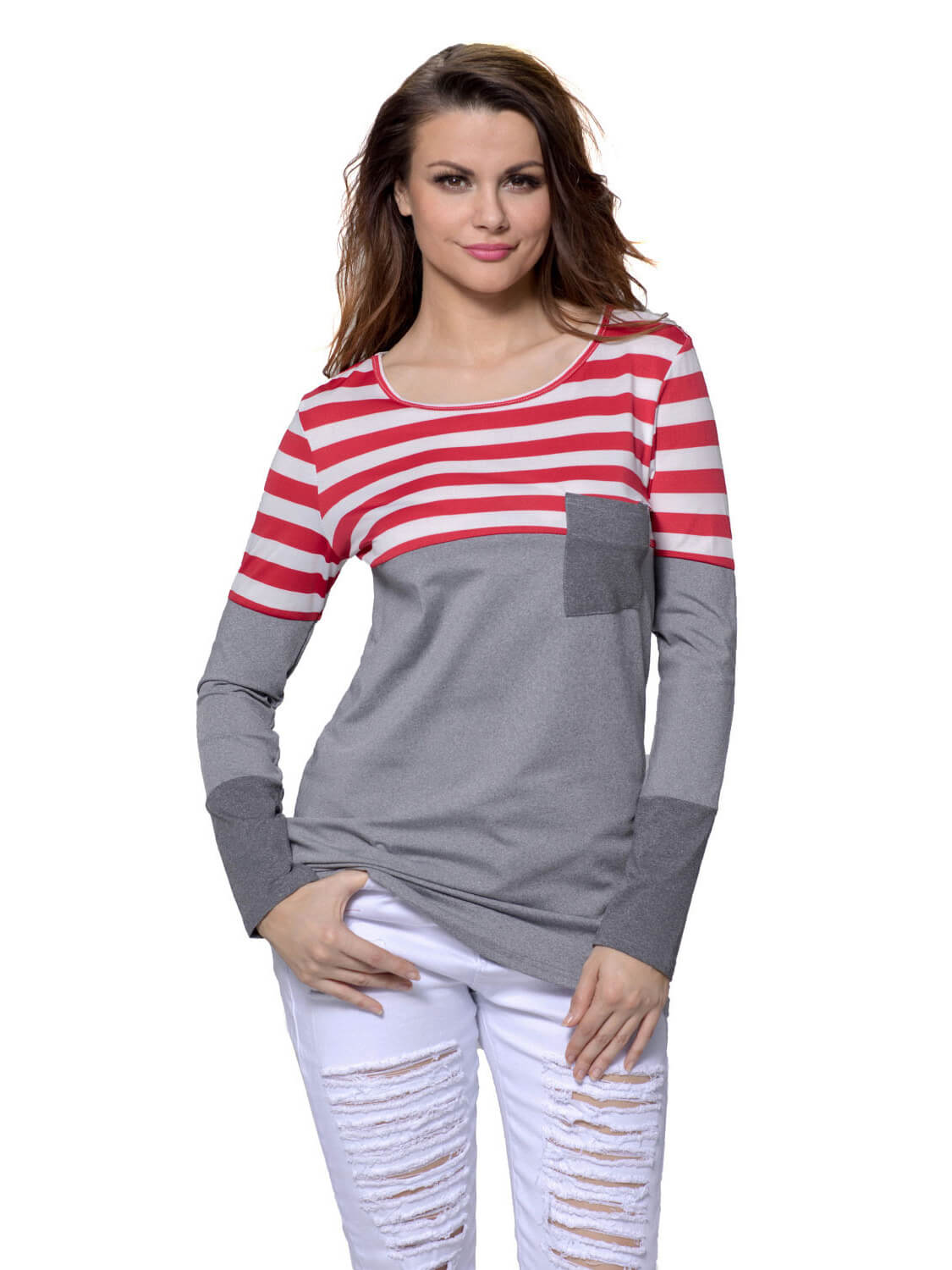 7b9679d68bdf3 Red White Stripes Color Block Long Sleeve Blouse Top – WhatsMode