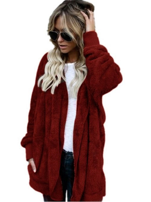 Fashion Solid Color Plush Mid-length Female Hooded Coat