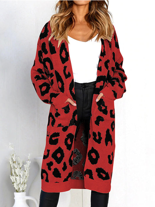 Casual Long Sleeve Open Front Leopard Print Sweater Coat