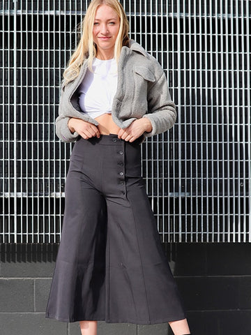 Color Block Side Split High Waist Pants