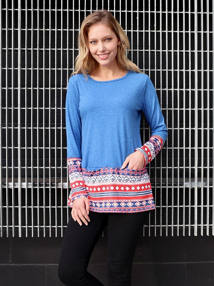 Crew Neck Oversize Top With Tribal Cuff And Hem