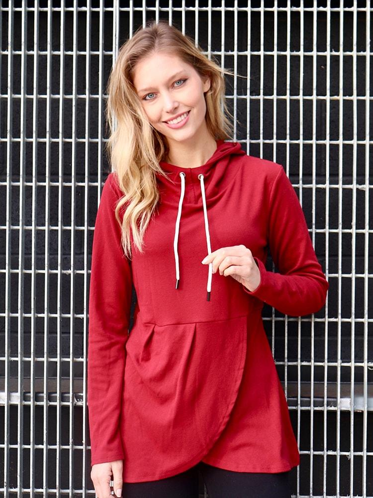 Irregular Hem Hooded Pullover Sweatshirt