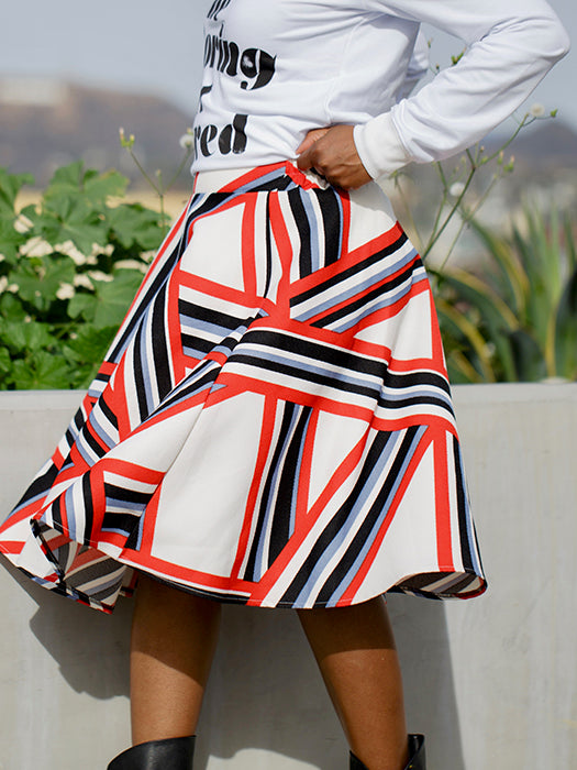 Geometrical Pattern High Waist A-line Skirt