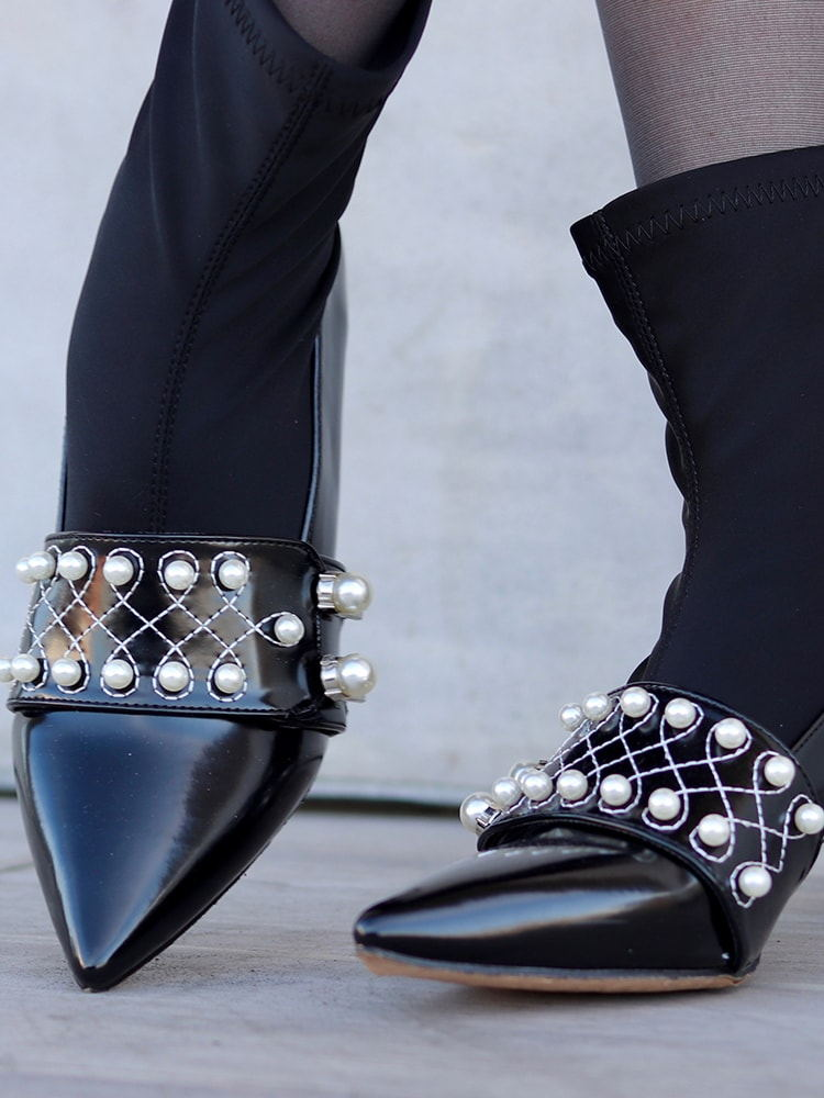 Embellished Faux Leather Sock Boots