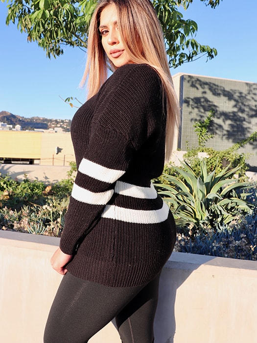 Blocked Stripe Ribbed Oversize Sweater