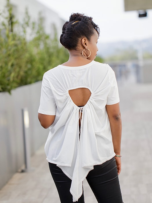 Back Hollow Out White Top