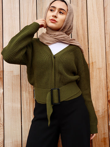 Flat Down Knit Solid Color Sweater