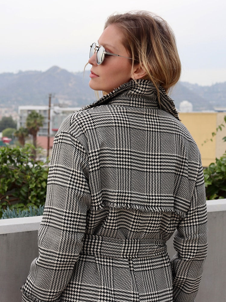 British Double Breasted Notched Lapel Plaid Coat