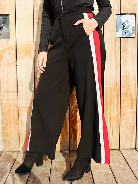 Jointed Two-tone Color Loose Pants