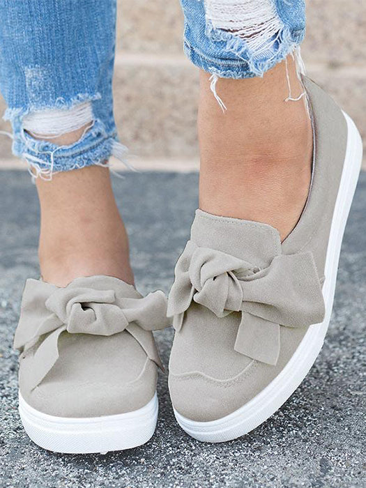 Women Nubuck Loafers Casual Bowknot Shoes